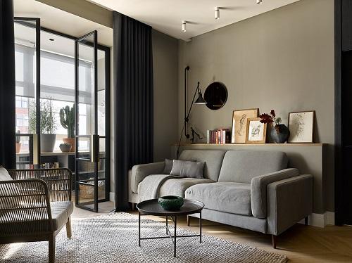دکوراسیون داخلی و طراحی آپارتمان به رنگ طوسی