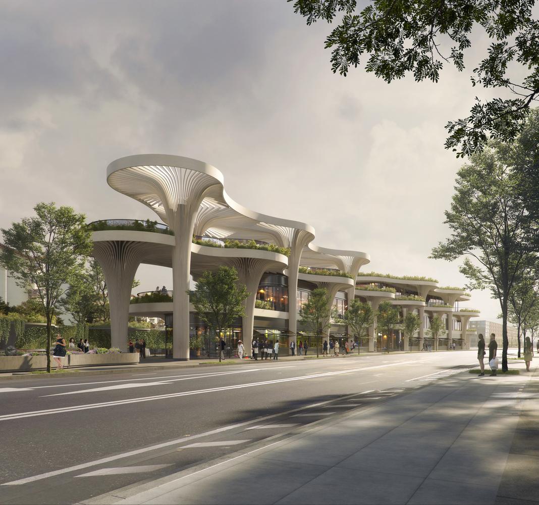 اخبار معماری، نمونه طراحی بازار بیوفیلی در چین، الگو برداری شده از جنگل های شانگهای